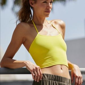 Free People Movement Neon Yellow Halter top